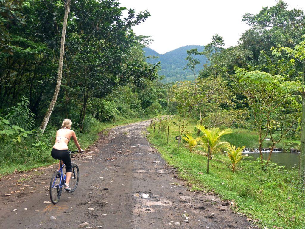 Lindsay biking to la fortuna waterfall
