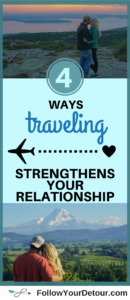 Couples travel can have incredible benefits to a marriage or relationship.Here are 4 reasons why traveling strengthens your connection and bond. So grab your significant other and plan a trip. This full-time traveling couple gives destination ideas and tips for planning vacations in the USA and abroad too. #couplestravel #travel #TravelBlogger #bucketlist #destinations #traveltips #traveltheworld #marriage