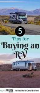 Don't buy an RV without reading these tips first. Whether you are buying a trailer, motorhome, or van, you'll want to be prepared. These tips are for anyone considering living in an RV or just buying an RV for camping trips. They come from full-time RVers! You'll want to consider these things before visiting the dealership. #RVlife #RVing #RVlifestyle #RVtravel #RVliving #fulltimeRV #GoRVing