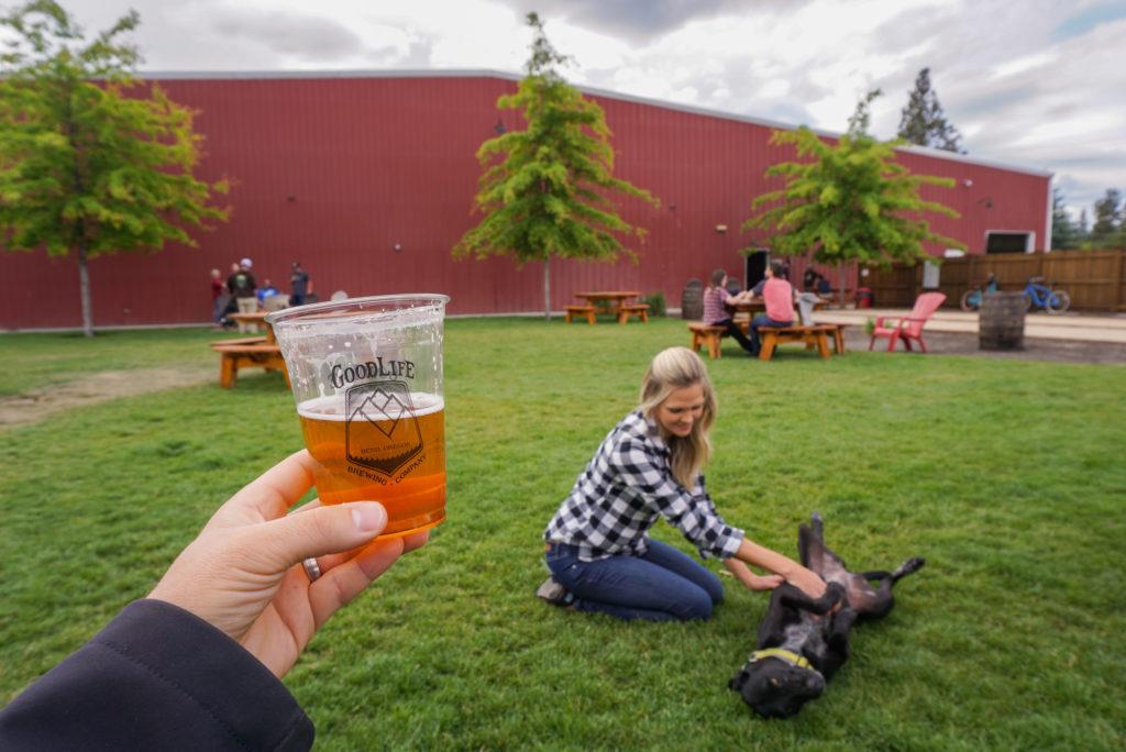 Enjoying the outdoor area at Good Life Brewing