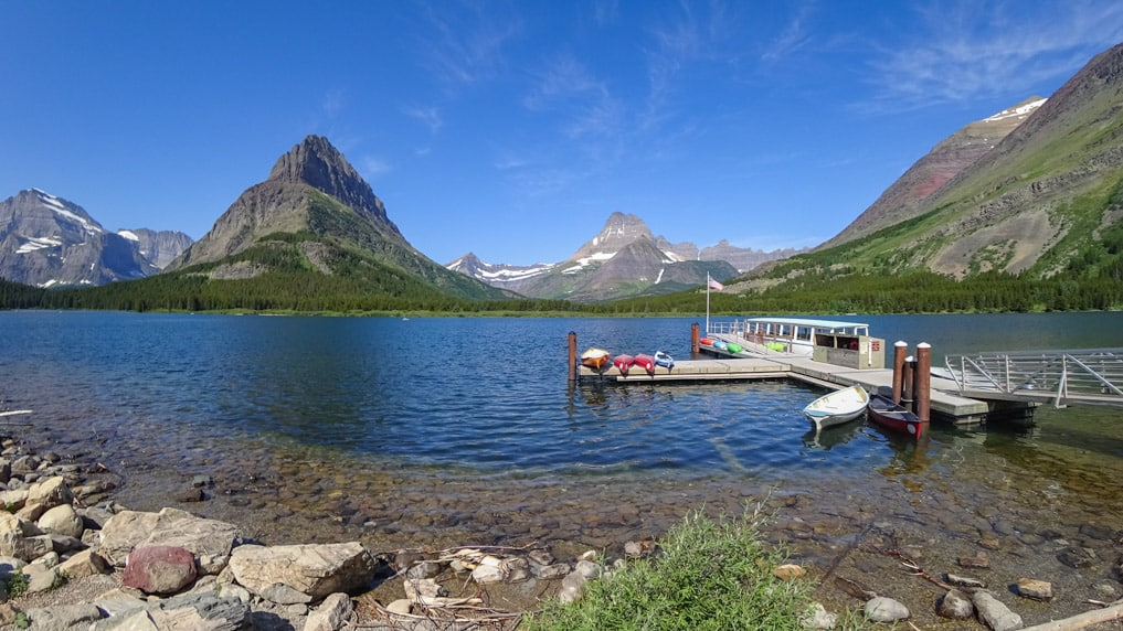 Many Glacier boat ride Swiftcurrent Lake