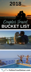 Is traveling more as a #couple on your list of #2018 goals? Traveling together strengthens a couples relationship in so many ways! Here are 5 great destinations to add to your #couplestravel bucket list! This post has #travel #destination ideas for both the USA and International. Some can be cheap trips to take as a weekend getaway, but all of them are romantic, adventurous, and relaxing. The photos and tips will help you plan your trip. They are also great #honeymoon spots! #bucketlist #travel