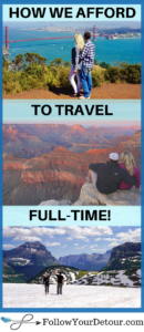 This couple gives all the details of how they afford to travel full-time. From budgeting, to travel hacks, and tips for saving money while on trips. Vacation doesn't have to break the bank and it IS possible to travel more! This couple also has great destination and itinerary suggestions for planning your trip, places to add to your bucket list, and also RV travel tips for RV camping or full-time living! #traveltips #travel #travelblogger #travelhacks #fulltimetravel #travelmore #travelcouple