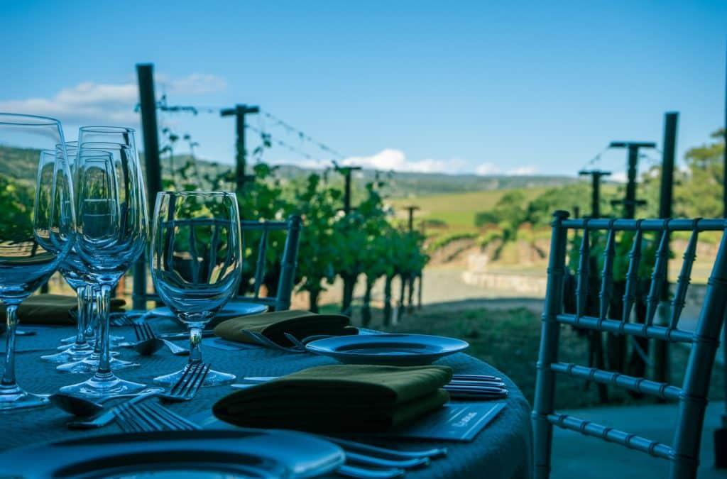 napa valley vineyard table setting