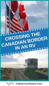 rv crossing canadian border with canadian and united states flag