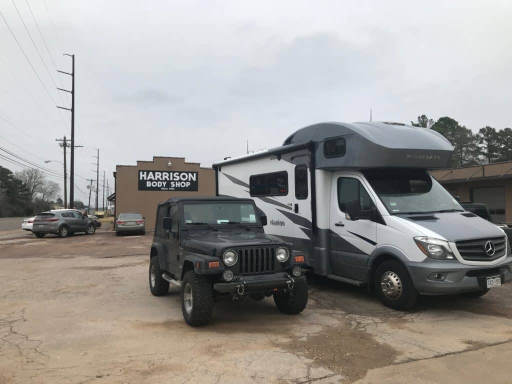 Jeep and RV at auto shop