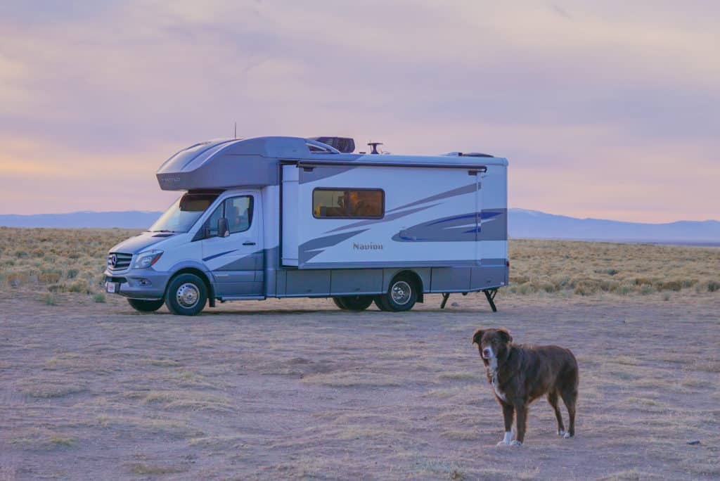 RV with a brown dog standing in front of it