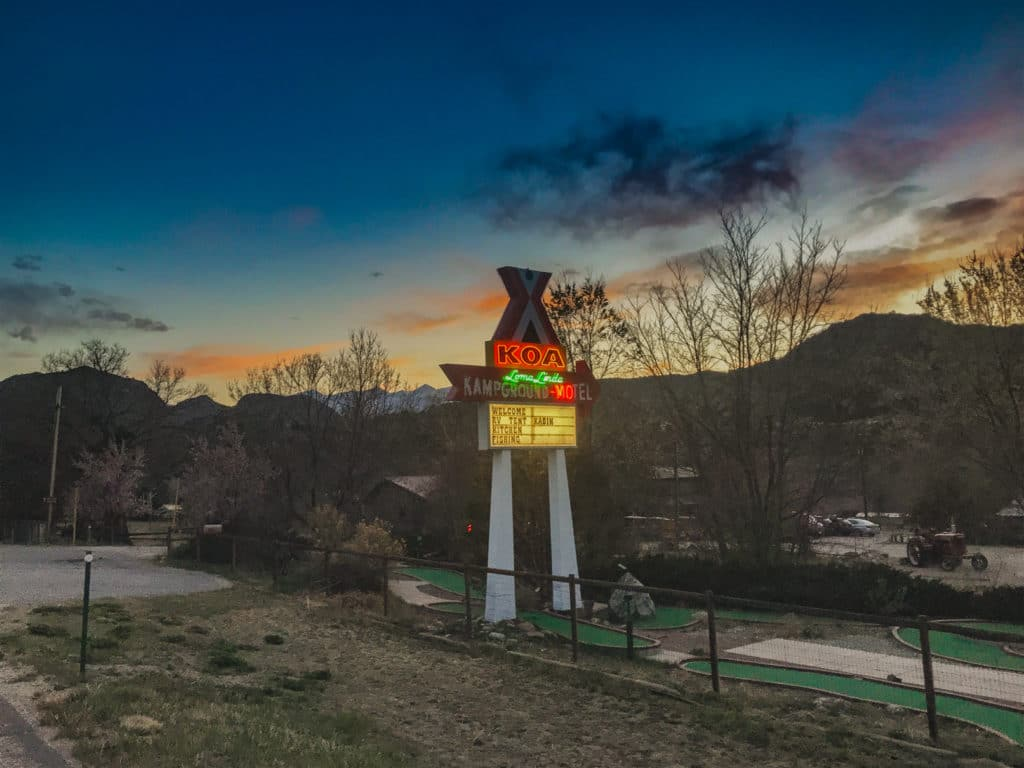KOA sign at sunset