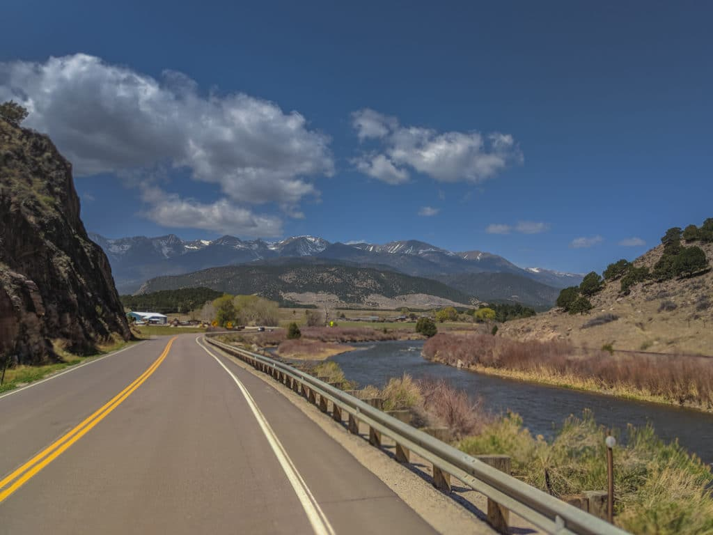 Road through cotopaxi colorado with mountain views