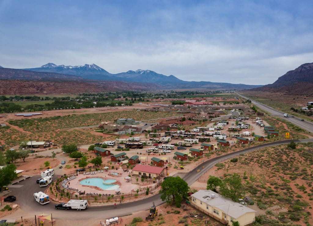 An aerial view of the Moab KOA campground