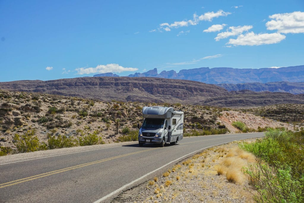 RV driving through Big Bend National Park in Texas