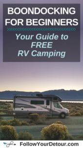 RV motorhome with mountain and lake views