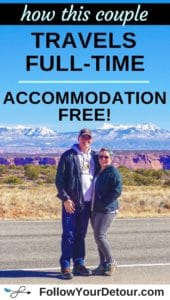 couple travels full-time accommodation free