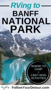 RVing to Banff National park Pinterest pin with moraine lake in the background