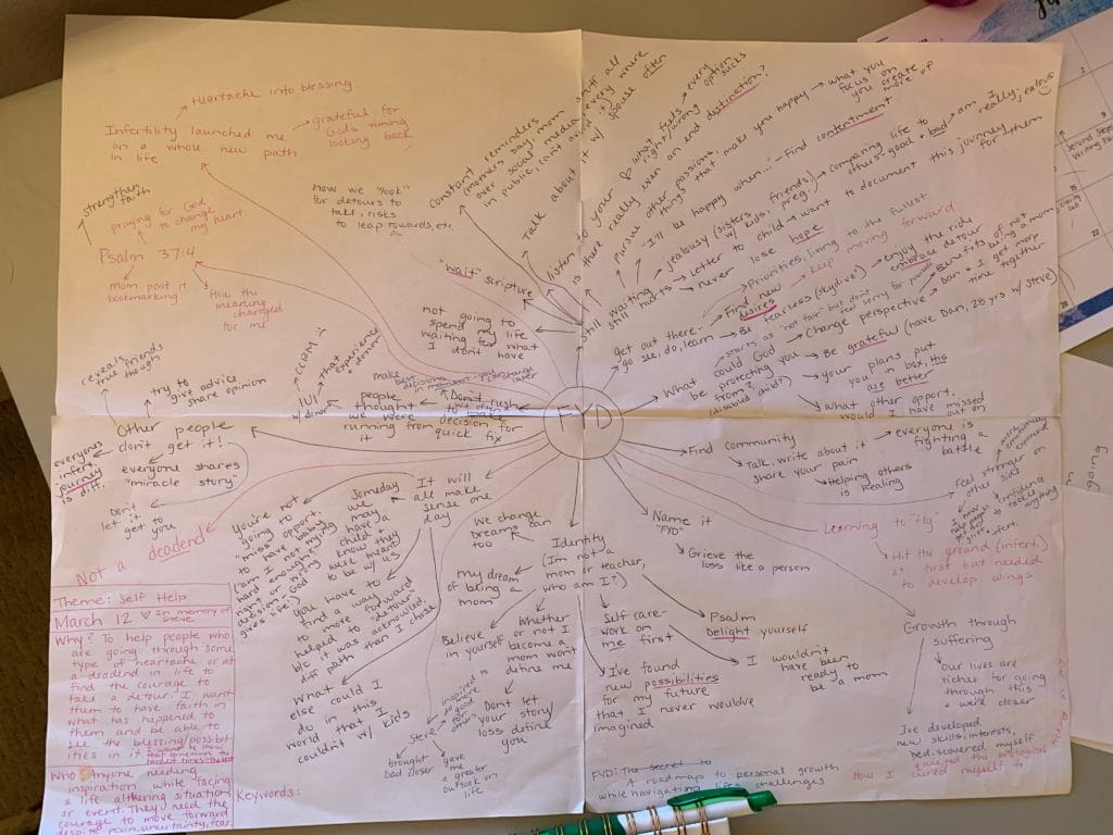 photo example of a mind map for writing a book