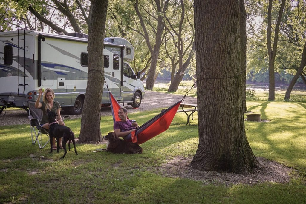 Family camping in Charles City Iowa campground