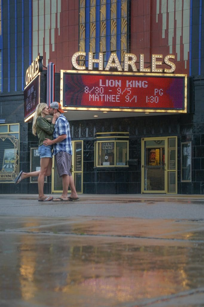 Couple outside charles city theater