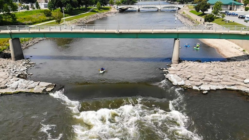 Kayaker at charles city whitewater park