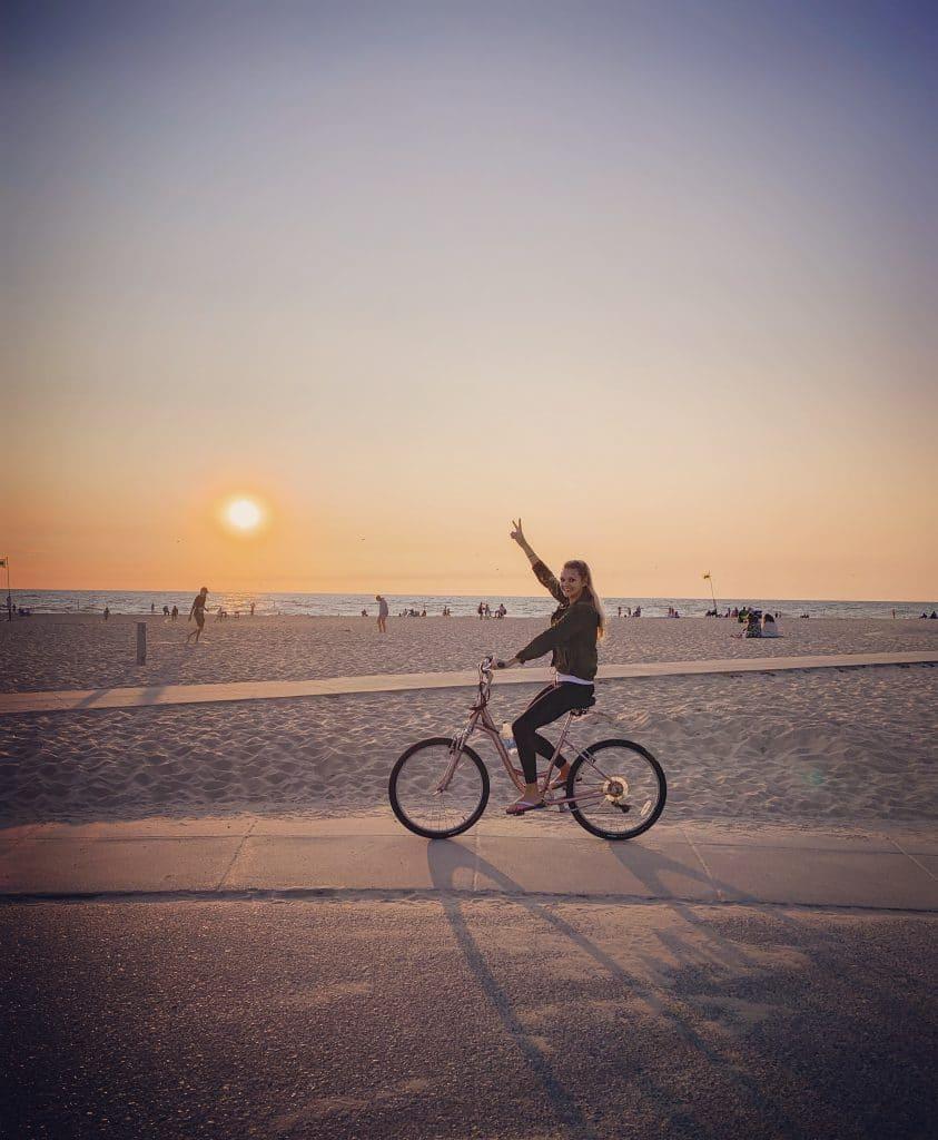 Biking at Holland Beach in Michigan at sunset