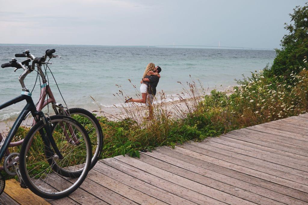 dan and lindsay riding bikes in mackinac island, Michigan