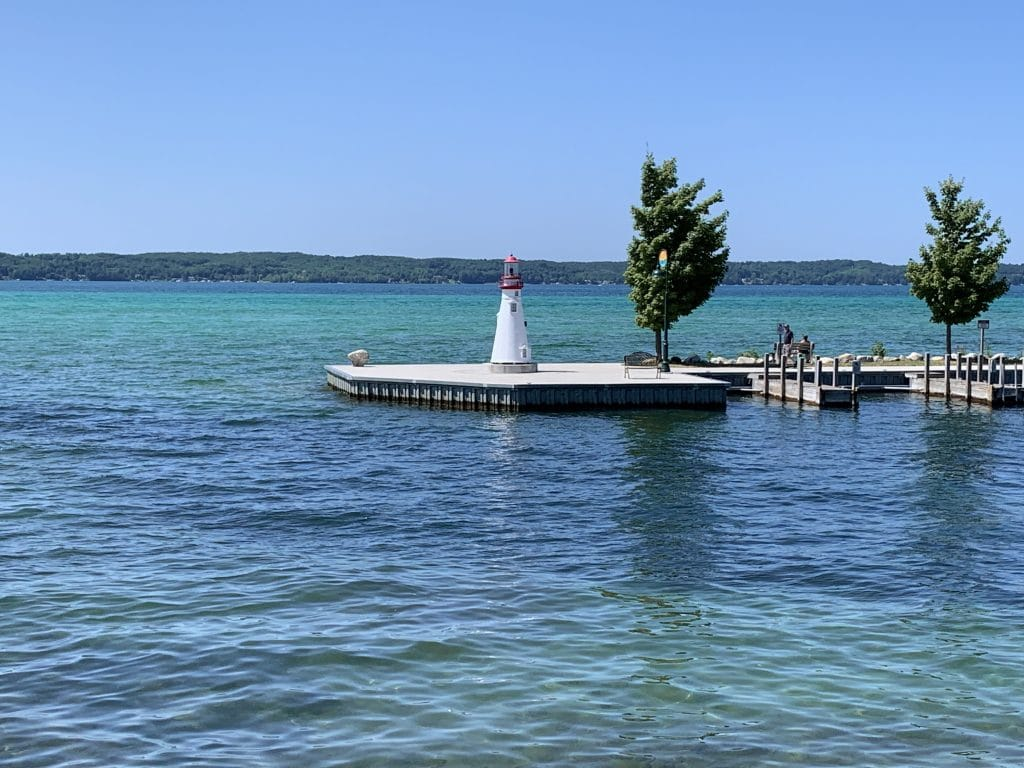 blue waters of torch lake