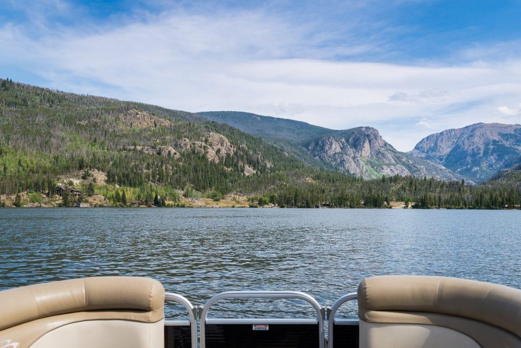 Pontoon boat on Grand Lake Colorado