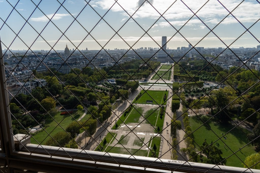A view of Champ de Mars while climbing the stairs