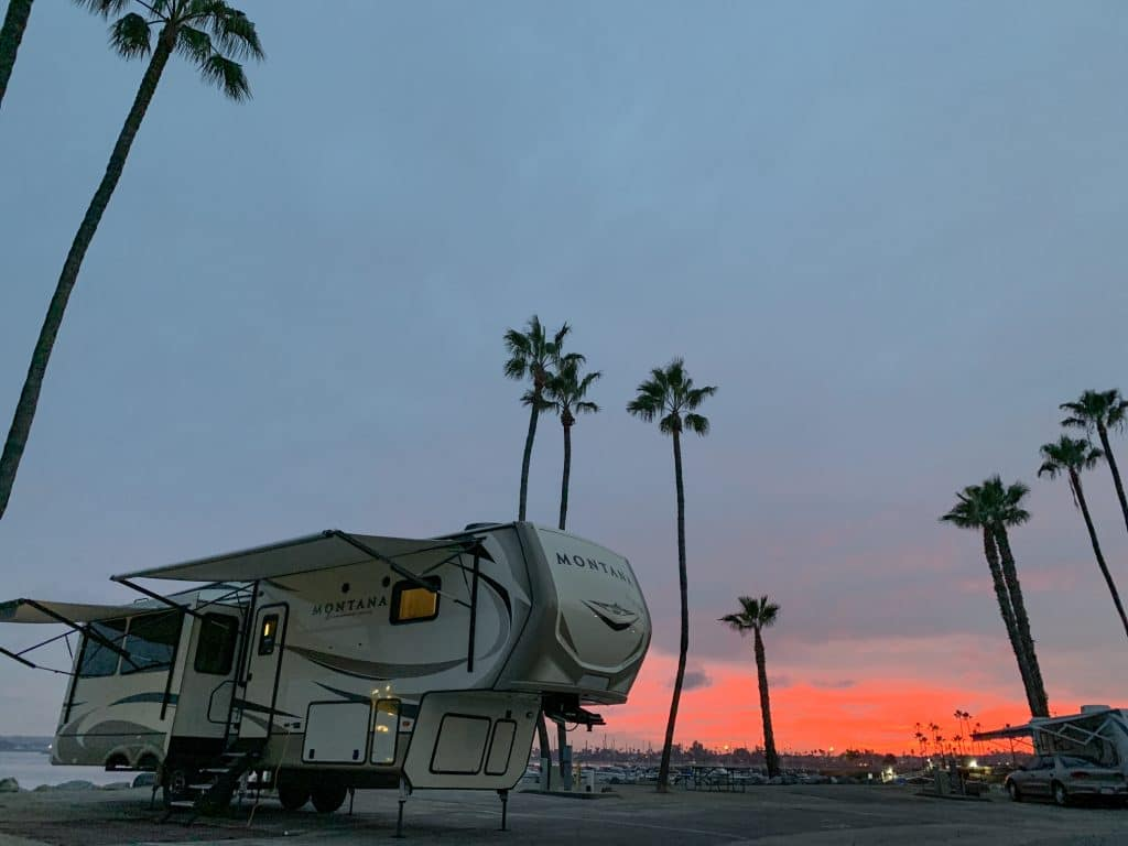 RV parked at Campland on the Bay RV park in San Diego