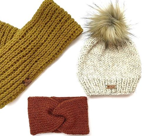 knitted scarf, beanie, and headband