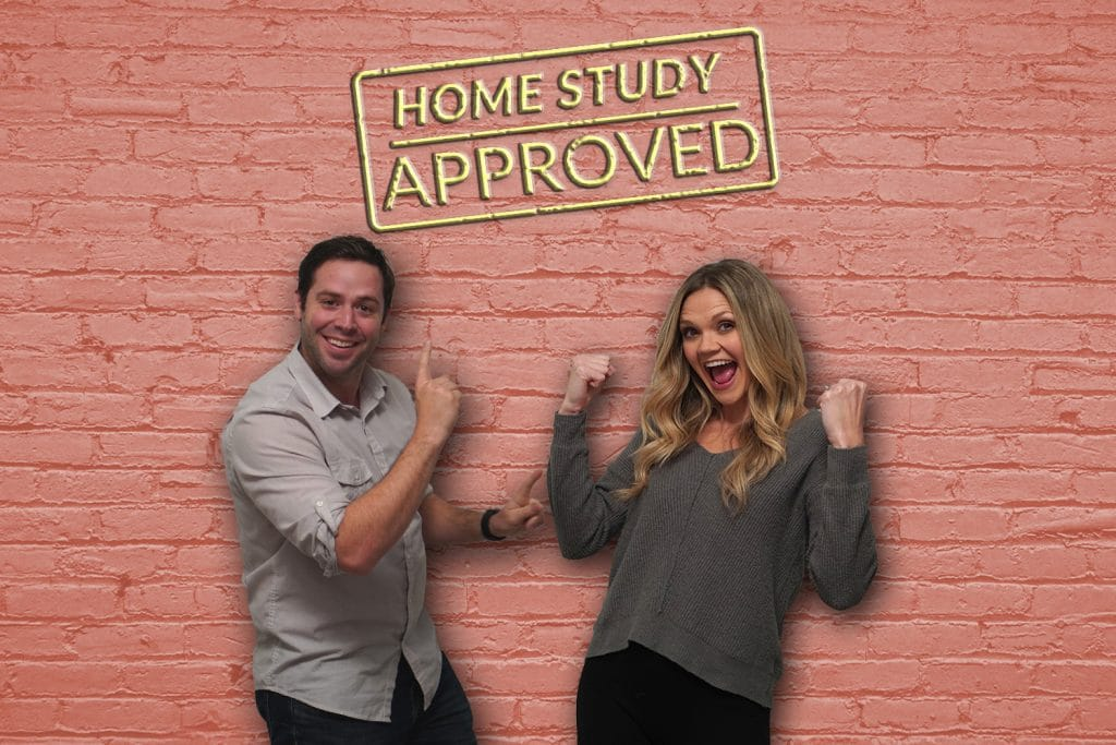 Hopeful adoptive Couple with graphic that says home study approved