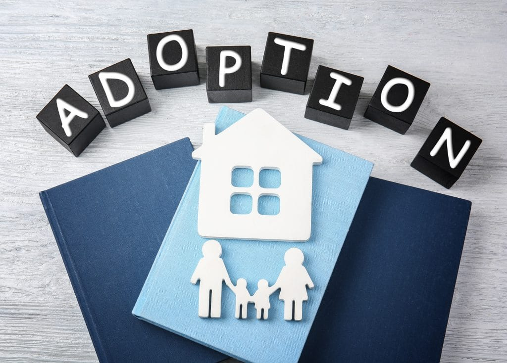 letters that spell out the word adoption over a house and stick figure family