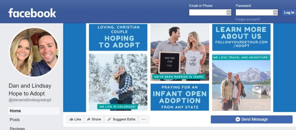 Domestic infant adoption outreach Facebook page