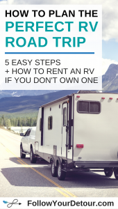 "data-pin-description=""RV road trips are the classic American family vacation and in our opinion RVing is the best way to travel. Hit the road for a camping trip this summer and make lasting memories. We'll help you plan the perfect RV road trip in 5 steps and even help you learn how to rent an RV if you don't own one. Experience RV life for yourself and you just might find yourself wanting to do it full-time. Follow Your Detour has all the tips you need. #RV #camping #RVlife #RVliving #RVtravel #travel #roadtrip"""