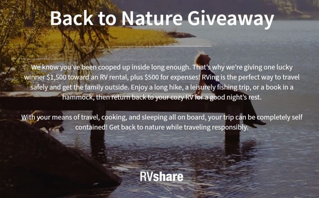 RVshare RV rental giveaway