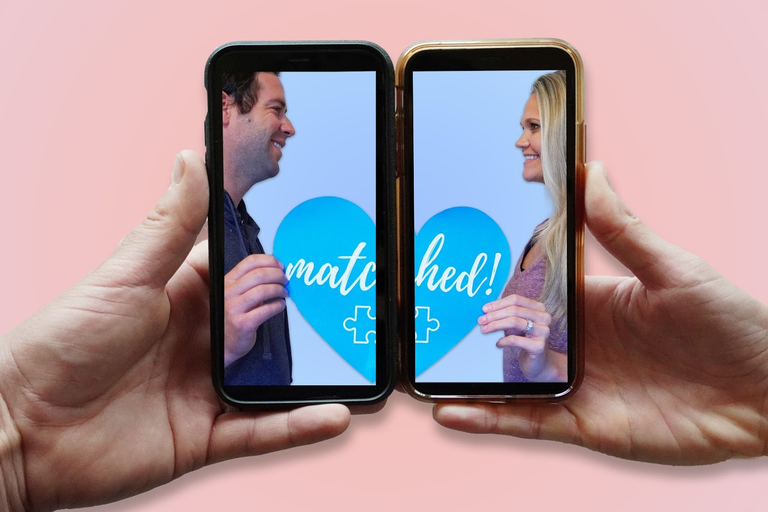Adoption match announcement photo of a couple holding their cell phones side by side to show them holding up two halves of a heart saying matched