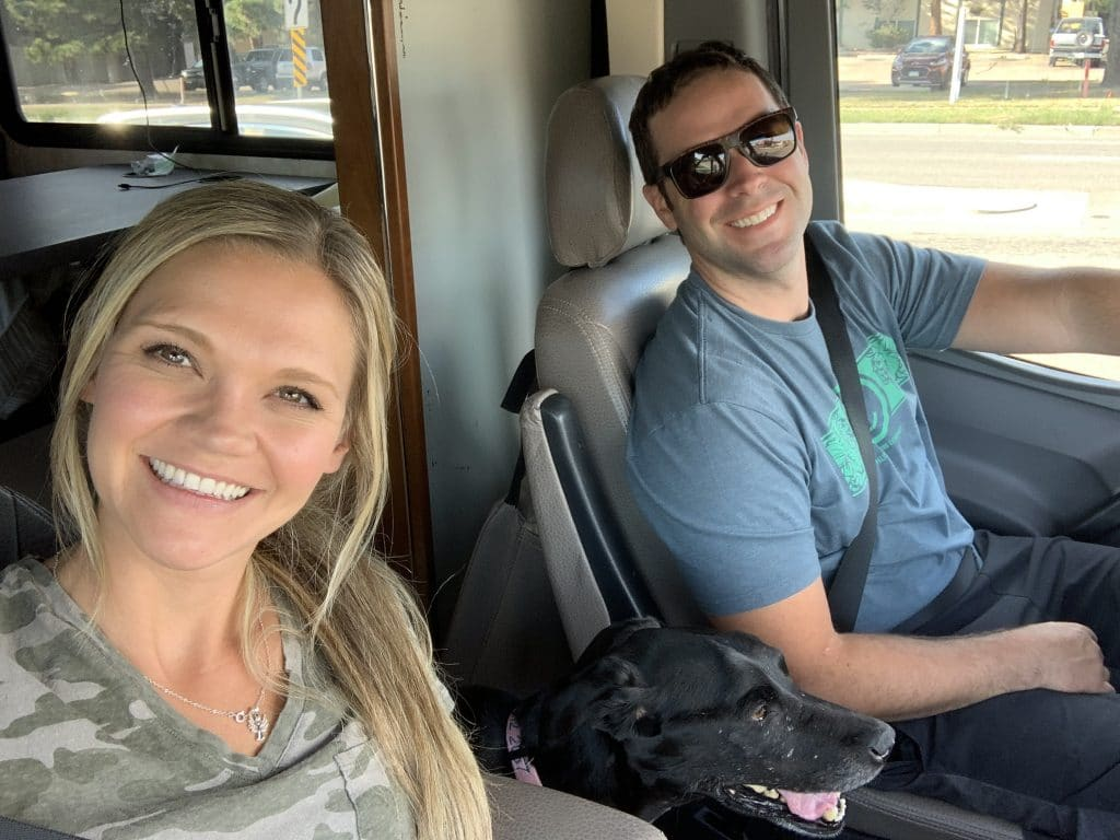 Couple driving in an RV to go meet birth mother on their adoption journey
