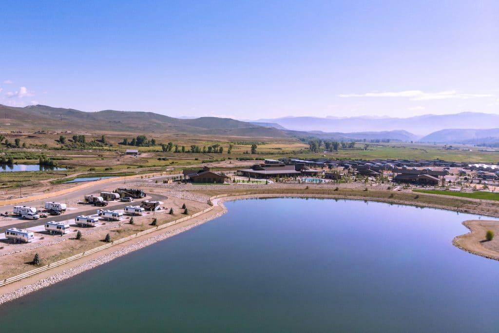 Arial shot of an RV resort in Granby, Colorado