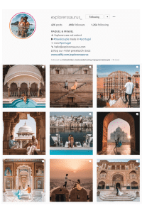 Screenshot of Instagram travel couple