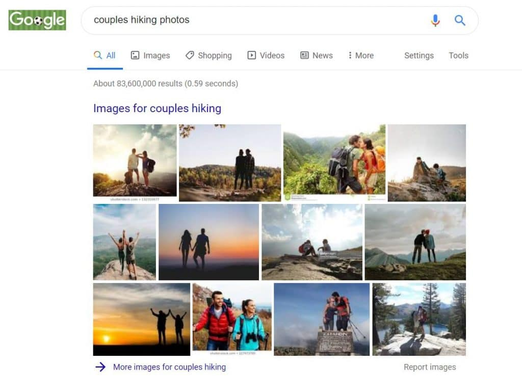 Google search results for couples hiking photography poses