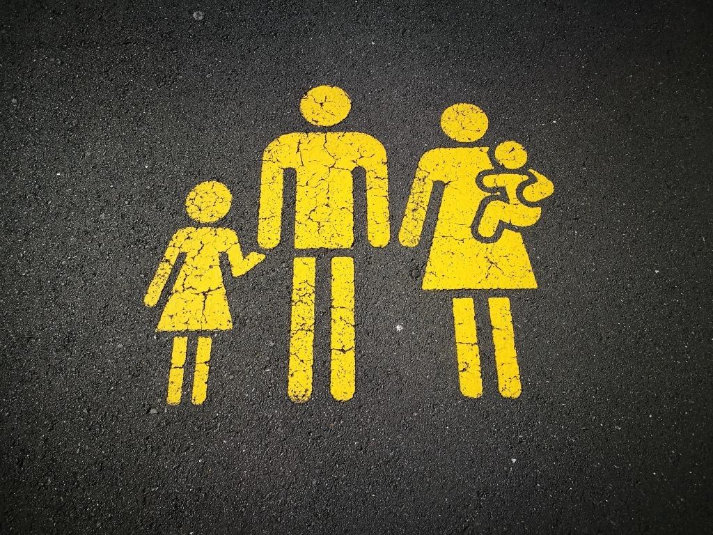 street with family painted in yellow on it