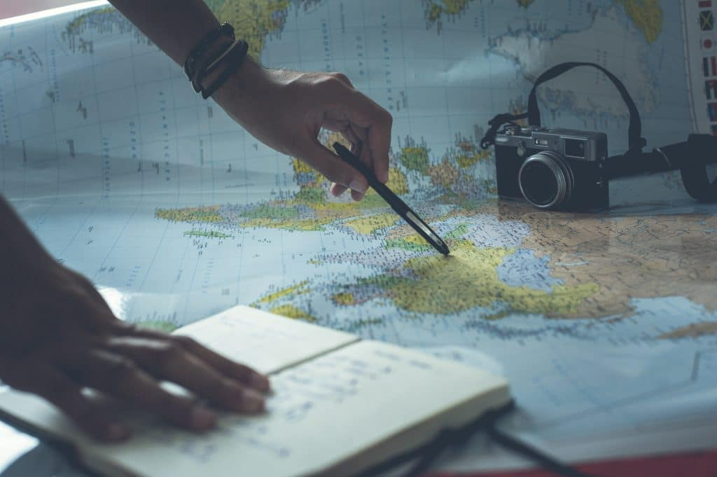 person trip planning with map