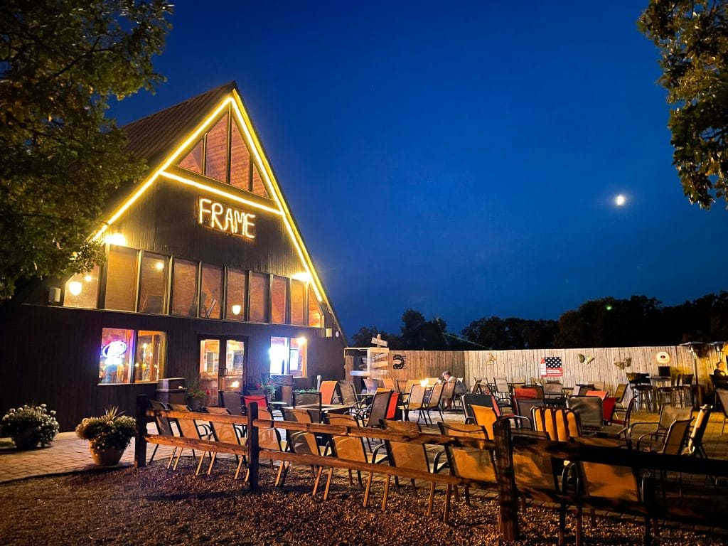 the aframe bar and grill at night
